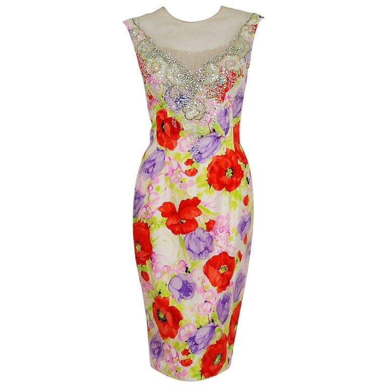 1950's Mr. Blackwell Colorful Floral Print Silk Beaded Illusion Cocktail Dress