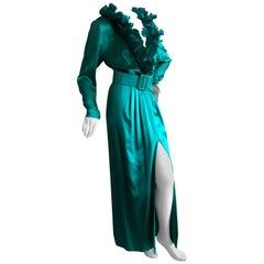 Hubert de Givenchy '70's Emerald Green Silk Evening Dress Maison Lemaire Feather