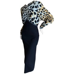 Leonard Paris for Bergdorf Goodman 1970's Leopard Jersey Dress