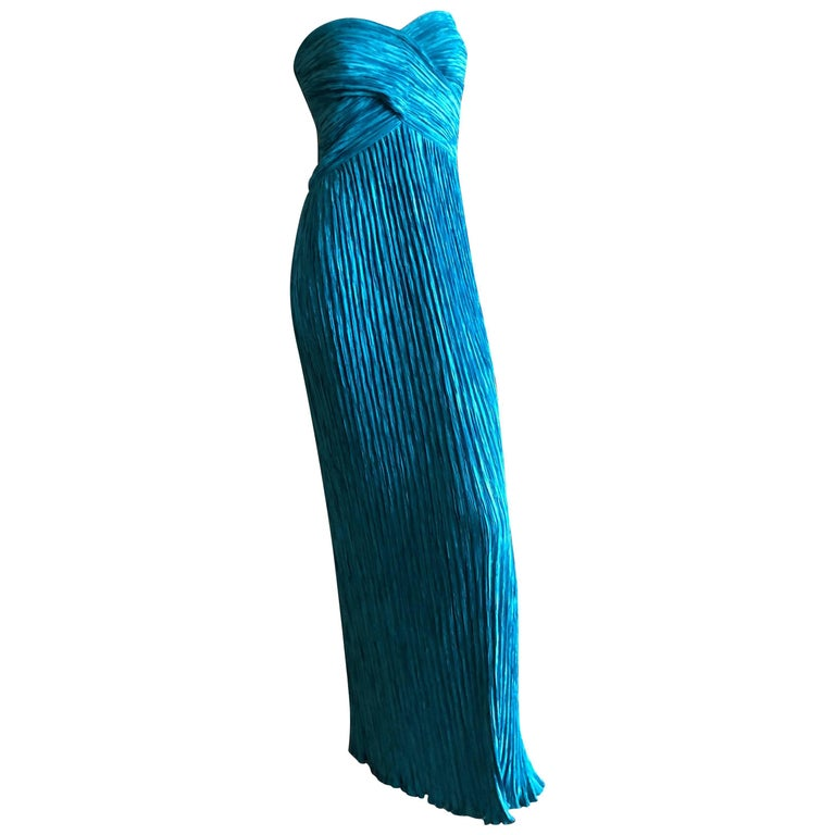 Mary McFadden for Martha 1970's Turquoise Plisse Pleated Strapless Evening Dress