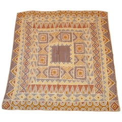 "Shades of Beiges and Taupe ""Tribal Print"" Silk Scarf"
