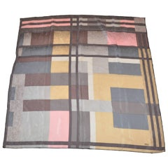 "Casca ""Shades of Gray, Tan & Pink"" Abstract Color Block Silk Scarf"