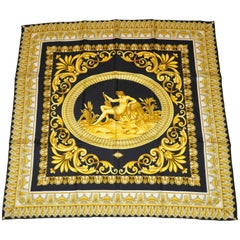 "Gianni Versace Signature ""House of Versace"" Shades of Gold & Black Silk Jacquard"