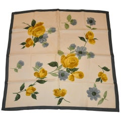 "Forest Green & Crackle Border ""Olive & Yellow Roses"" Silk Scarf"