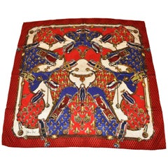 Diane Fres Red and Black silk crepe di chine Regal Fleur De Lis Scarf