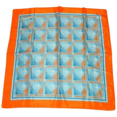 Bold Tangerine Border with Shades of Blues & Orange Abstract Scarf