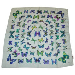 "Echo Shades of Turquoise, Lavender & Green ""Butterflies"" Silk Scarf"