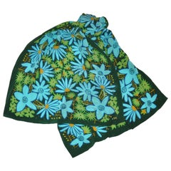 Vera Forest Green with Multi Turquoise & Green Floral Silk Scarf