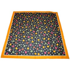 "Yves Saint Laurent Huge ""Candy Drops"" with Yellow Border Cotton Scarf"