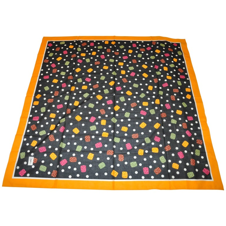 "Yves Saint Laurent Huge ""Candy Drops"" with Yellow Border Cotton Scarf For Sale"