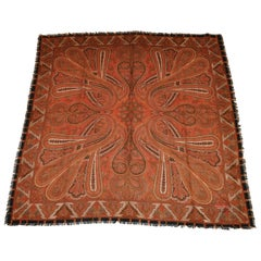 "Ellen Tracy Large ""Shades of Autumn"" Multi-Palsey Wool Challis with Fringe Scarf"