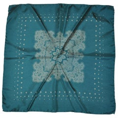 Turquoise-Green Palsey Center Silk Handkerchief