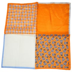 Shades of Tangerine Palsey, plaid, Stripes & Solid silk handkerchief