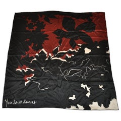 Yves Saint Laurent Whimsical Black, Ivory & Warm Brown Silk Jacquard Scarf.
