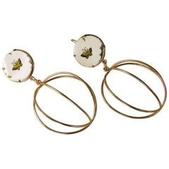 Bronze earrings with Victorian porcelain Inserts