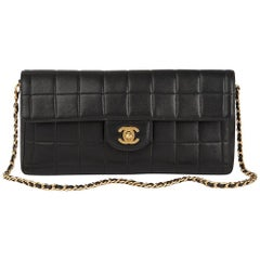 2003 Chanel Black Quilted Lambskin East West Chocolate Bar Flap Bag