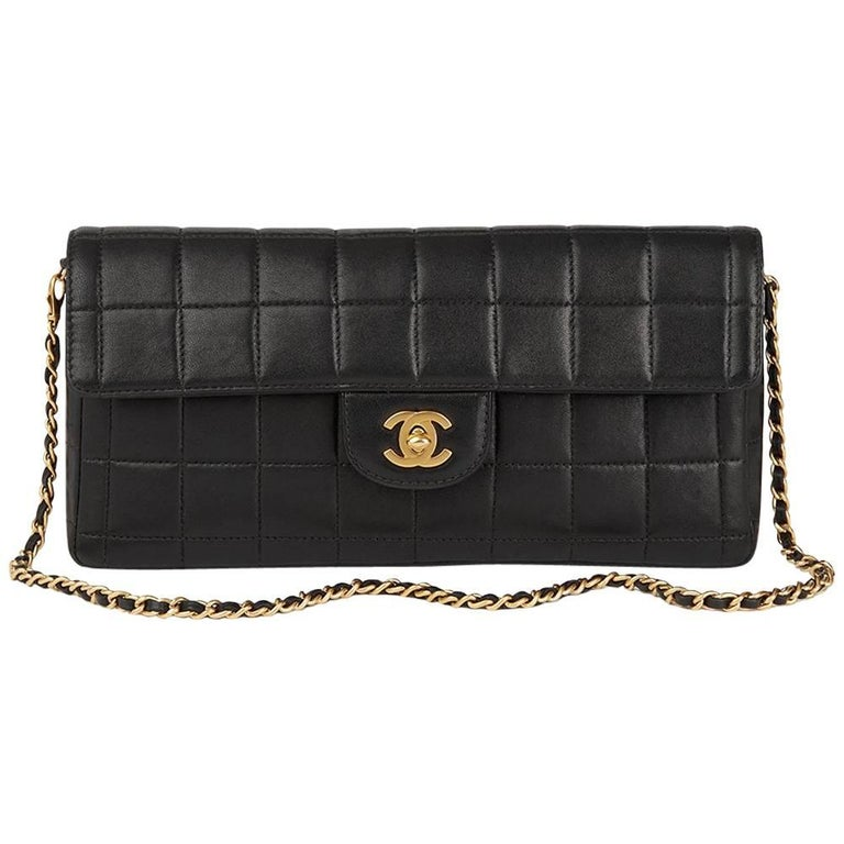d272b7a6027c 2003 Chanel Black Quilted Lambskin East West Chocolate Bar Flap Bag For  Sale.