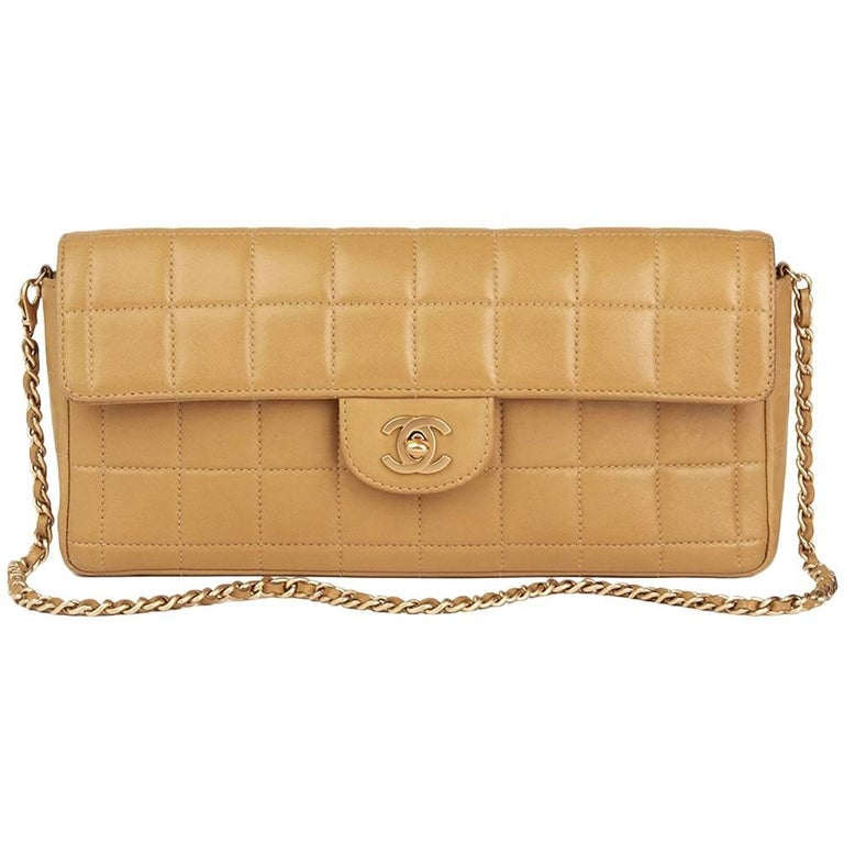 2003 Chanel Beige Quilted Lambskin East West Chocolate Bar Flap Bag