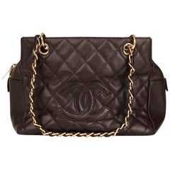 2003 Chanel Chocolate Brown Quilted Caviar Leather Petite Timeless Tote PTT