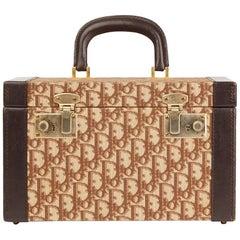 1980s Christian Dior Brown Calfskin Leather Canvas Vintage Vanity Case