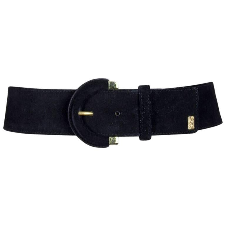 Yves Saint Laurent Black Suede Belt With Gold Tone Accents and YSL Logo, 1990s