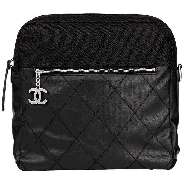 2008 Chanel Black Quilted Coated Canvas Convertible Backpack