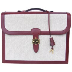 Hermès Toile Canvas 39 cm Red Leather Sac a Depeche Attache Briefcase Handbag
