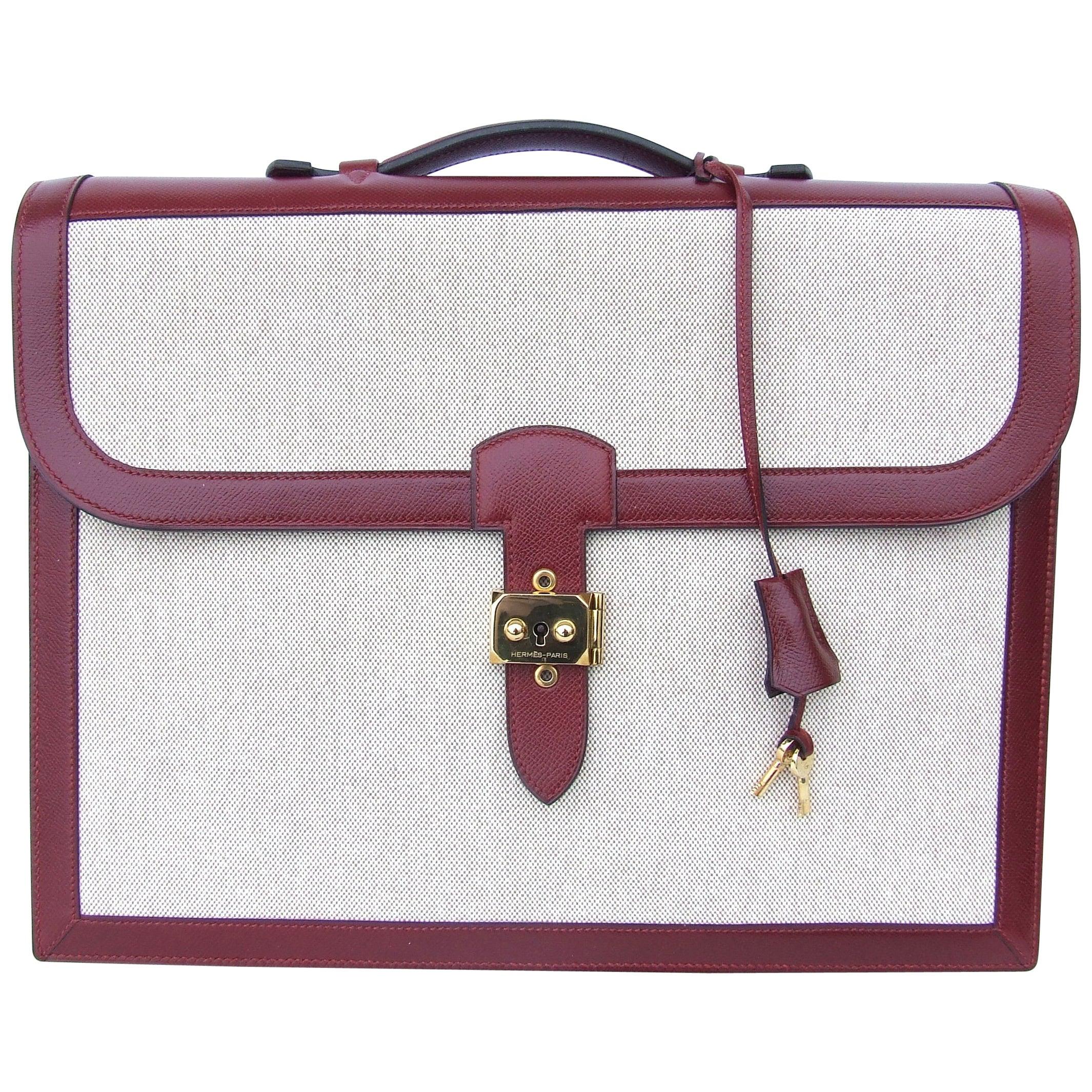 Hermès Toile Canvas 39 cm Red Leather Sac a Depeche Attache Briefcase Handbag