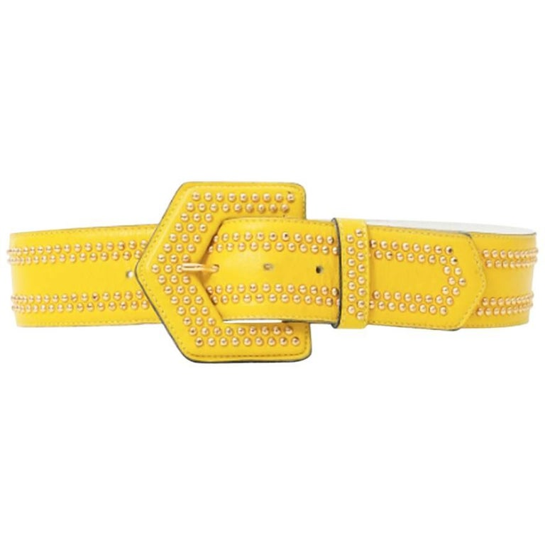 Yves Saint Laurent Yellow Leather Belt