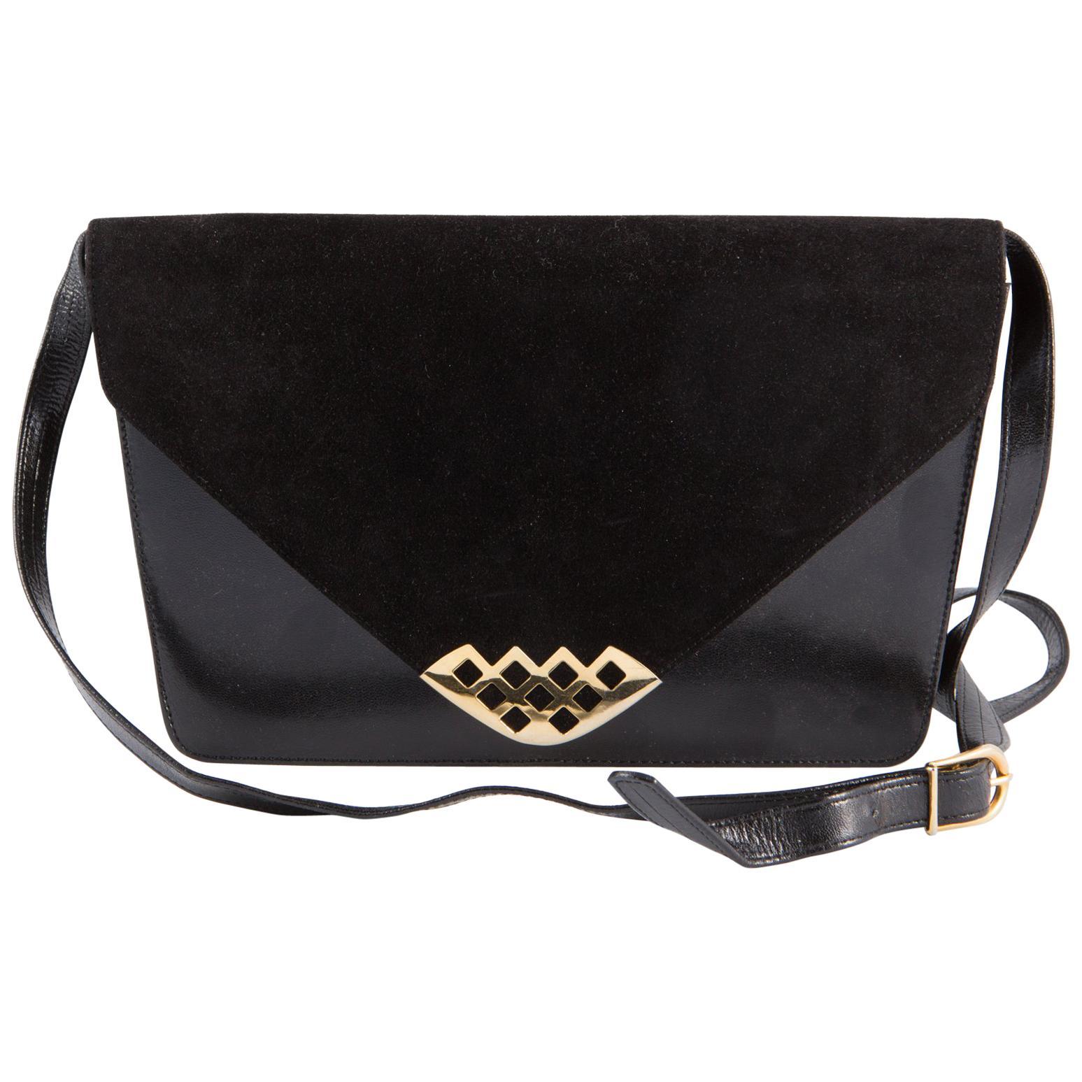 Bally Black Leather and Suede Shoulder Bag