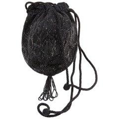 1960s Black Beaded Evening  Bag