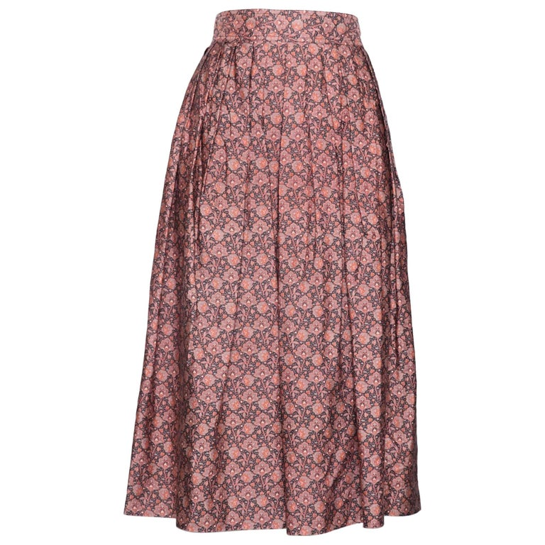 A Floral 1980s Yves Saint Laurent Rive Gauche Cotton Skirt S