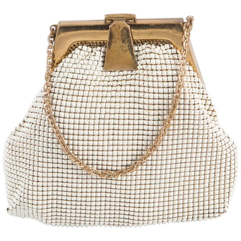 Ivory Whiting & Davis Beaded Evening  Bag For Sale
