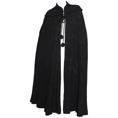 A 1930s Black Silk Crepe Opera Cape