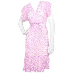 A Sheer 1980s Givenchy  Purple & White Silk Dress XS