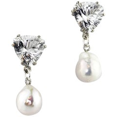 10.86 Carats White Quartz and Pearl Sterling Silver Stud Earrings