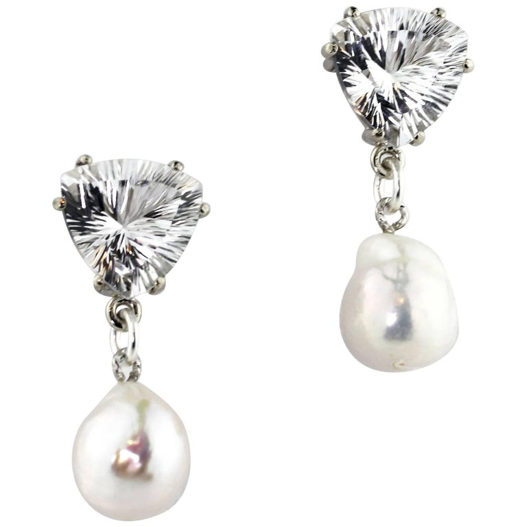 Unique 10.86 Carats White Quartz and Pearl Sterling Silver Stud Earrings For Sale
