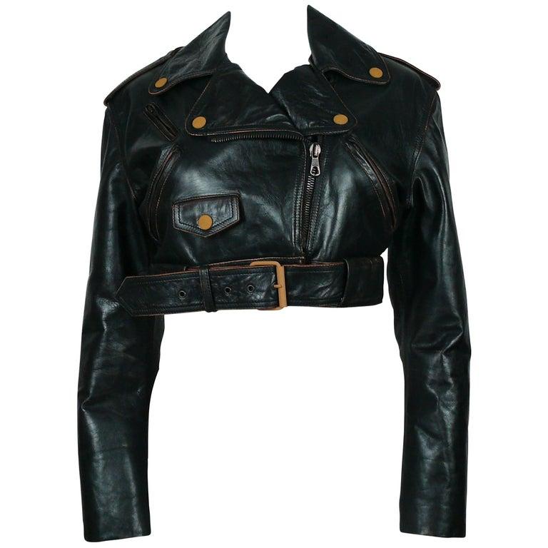 Jean Paul Gaultier Vintage Cropped Biker Jacket  For Sale