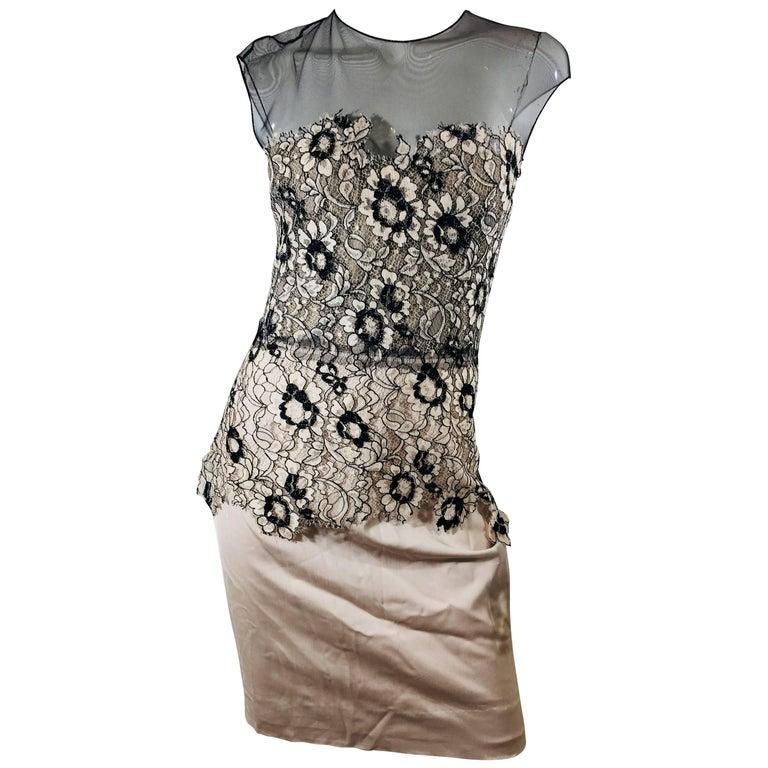 Lela Rose Lace Overlay Dress