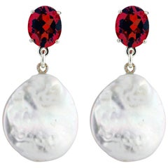 Unique 8.38 Carats Red Garnets & White Coin Pearls Sterling Silver Stud Earrings