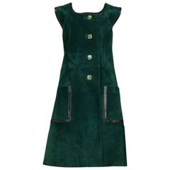 Gucci Green Suede Day Dress, 1970s