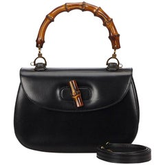 Gucci Bamboo Black Leather Crossbody Bag