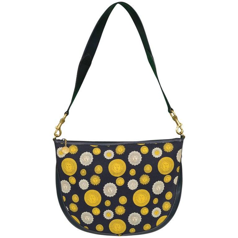 Gucci 1970s Canvas & Leather Sun Print Shoulder Bag