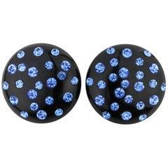 c.1950's Black Bakelite Blue Crystal Rhinestone Embedded Dome Clip On Earrings