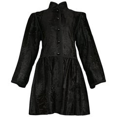 Yves Saint Laurent Couture Russian Collection Black Broadtail Coat