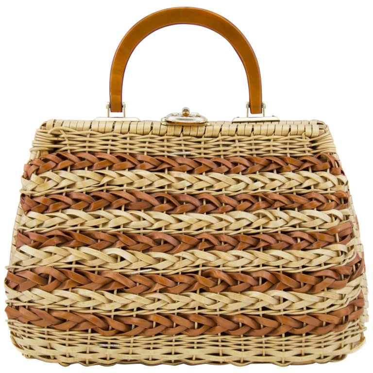 1960s Braided Tan and Brown Wicker Top Handle Bag