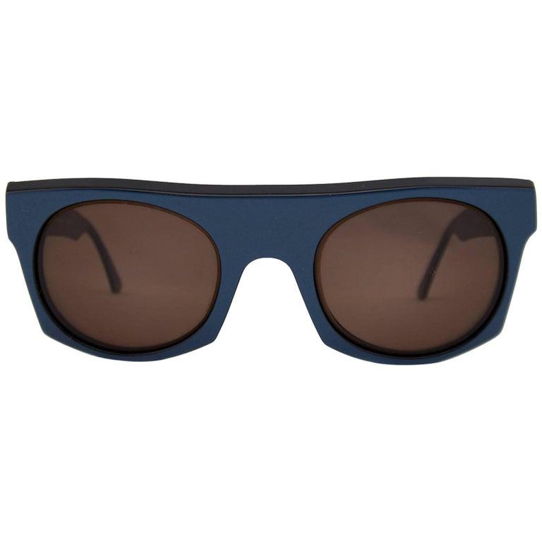 1980s Claude Montana by Alain Mikli Metallic Blue Sunglasses