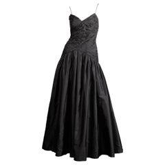 Stunning Bergdorf Goodman on the Plaza Vintage Black Silk Evening Gown or Dress
