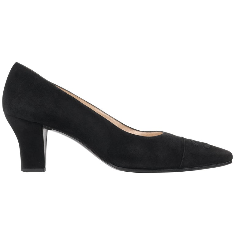 "CHANEL Black Suede Leather ""CC"" Cap Snip Toe Kitten Heel Classic Pumps"