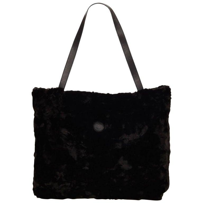 Black Fendi Fur Tote Bag